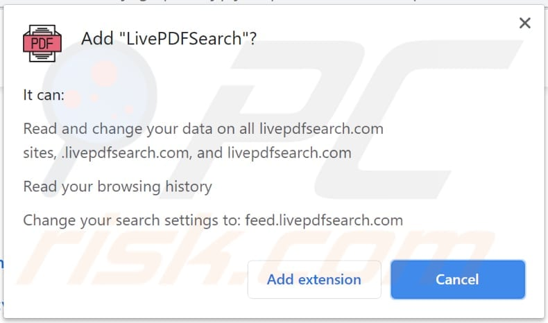 livepdfsearch browser hijacker notification